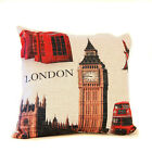 "BIG BEN LONDON PRINT COLOR LINEN PILLOW COVER BURLAP 18""x18"" TAPESTRY VINTAGE"