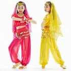 Kids Girls Belly Dance Costume(Short-sleeve Top,Sequins Pants)3 Colors 4 Sizes