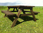 PUB STYLE PICNIC BENCH - 6 SEATER - PRESSURE TREATED - HAND MADE IN UK*