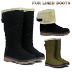 Ladies Women's Snow  Boots Mid Calf Fur Inner Low Heel Shoes Size UK 3 4 5 6 7 8