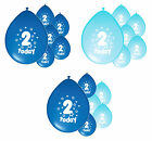 10 x 2ND BIRTHDAY BOY/ AGE 2 BOY BLUE AND BABY BLUE BIRTHDAY BALLOONS (PA)