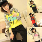 Korean Womens Leopard Long Sleeve Sweatshirt Hoodie Coat Shirt Tops Outerwear