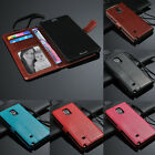 Genuine Leather Wallet Card Slot Flip Stand Case Cover For Samsung Galaxy Note 4