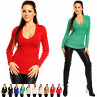 Zeta Ville Fashion - Women's V Neck Ribbed Knit Top Jumper Pullover - 906z