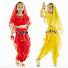 Kids Girls Belly Dance Costume (Short-sleeve Top,Colored Sequins Pants) 3 Colors