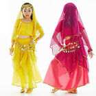 Kids Girls Belly Dance Costume (Short-sleeve Top and Sequins Skirt) 3 Colors