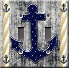 Light Switch Plate Cover - Sailor anchor starry back b&w - Rope boat sea deco