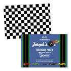 Personalised children's birthday party invitations RACING CARS BOY FREE ENVELOPE