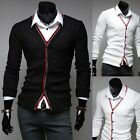 New Stylish Mens Slim Fit Cardigan Business Casual Knit V-Neck Jumper Sweater