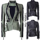 Women Denim PU Synthetic Leather Contrast Sleeves Pleated Tuxedo Jacket Blazer