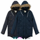 Mens Designer Cheltenham Brave Soul Quilted Design Parka Winter Hooded Jacket