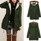 B Women Warm Hooded Military Green Faux Fur Long Trench Coat Parka Overcoat