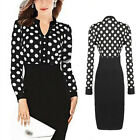 Chic Womens Polka Dot Wear to Work Cocktail Party Sheath Pencil Formal Dress