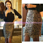 Fashion Women Ladies Celeb Knee-length Sexy Lace Floral Pencil High Waist Skirts