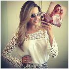 Womens Sexy Semi Sheer Sleeve Embroidery Floral Lace Crochet Top Blouse Tee LA