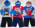 SUPERMAN or BATMAN or SPIDERMAN Boys 2T 3T 4T Set OUTFIT Costume Hoodie Shirt