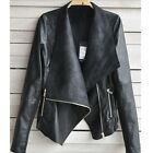 Womens Slim Biker Motorcycle PU Soft Leather Zipper Jacket Short Cool PunkCoat
