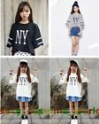 New Casual NY Druck Loose Street Wear Kleid Shirts Damen Tops Bluse @DR0234