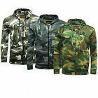 Mens Camouflage Camo Full Zip hooded fleece Top Sizes Small to 5XL 3 Colours