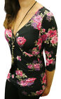 NEW LADIES WOMANS SEXY PINK ROSE BODYCON TOP SIZE 6-14 UK 34-42 EU