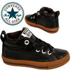 Kids Boys Converse Pure Ox Leather Canvas Black Brown Shoes Sports Casual School