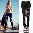 Black Cut-out Punk Ripped Woman Jeans Jeggings Trousers