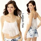 Women White Flowy Lace Overlay Adjustable Straps Stretch Crop Top Tank Bustier