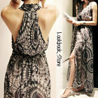 Women Flowy Geometric Ink Print Chiffon Cutaway Neckline Racer Back Maxi Dress