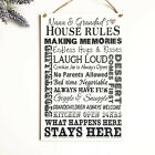 Grandparents House Rules PERSONALISED Sign Nana Grandad Wooden Plaque Love W131
