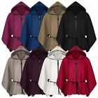 LADIES BELTED ZIP PONCHO WOMENS WET LOOK TRIM HOODED CAPE COAT SIZE 8-14