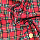 "Royal Stewart Brushed 100 % cotton tartan fabric per fq/half metre/Mt. 58 ""wide"