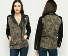 Ladies Black Contrast Woven Jacquard Faux Leather Collar Zip Fronted Jacket
