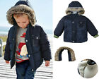Boy Kids Winter Navy Coat Jacket -Faux Fur Lining Hooded School Age 1 2 3 4 5 6