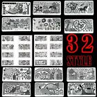 LONG Nail Art DIY Image Stamping Device Steel Plate Manicure Template 32 Designs