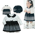 Formal Baby Girl White & Black Dress, Pageant Party Christmas 100% Cotton 6M-3Y