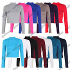 LADIES TURTLE NECK CROP WOMENS LONG SLEEVE PLAIN POLO CROP TOP SIZE 8-14