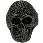 Black IP Plated 316L Stainless Steel Angry Skull Matte & Shiny Biker Ring 8-15