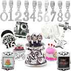 BIRTHDAY CHARMS BEADS Birthday Number Pendants Fit Silver Charm Bracelets