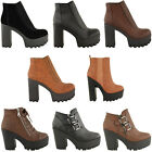 LADIES WOMENS CLEATED CHUNKY PLATFORM BLOCK HEEL ANKLE CHELSEA BOOTS SHOES SIZE