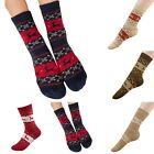 Women Vintage Deer Snow Flower Printed Christmas Designer Soft Socks 5 Colours
