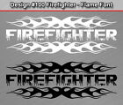 #100 FIREFIGHTER Flame Font Flaming Fire Rear Window Decal Sticker Vinyl Graphic