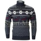 Mens Soulstar Reindeer Print Polo Neck Knitted Xmas Jumper Sweater Size