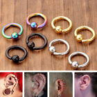4x 16G Stainless Steel Ear Tragus Helix Hoop Captive Ring Earring Piercing Punk