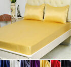 3 pcs Seamless 30M/M Heavy Weight Silk Fitted Sheet Pillowcases Sets  Full