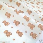 "per 1/2 metre/ FQ 100 % cotton cream with beige teddies fabric 54 ""wide"