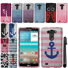 For LG G Vista VS880 G Pro 2 Lite D631 DIAMOND BLING HARD Case Phone Cover + Pen