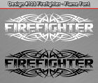 #105 FIREFIGHTER Flame Font Tribal Rear Window Decal Sticker Vinyl Graphic Spike