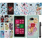 For Nokia Lumia 810 Rubberized PATTERN HARD Case Phone Cover + Pen