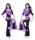 Belly Dance Costume Yoga Outfit 3 pics Blouse Top&Hip Scarf Belt&Pants 8 colors