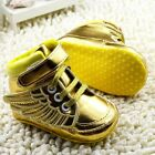 Baby girl Crib Shoes soft soled Angel wings Sports shoes gold Size 0-6-12-18 mth
